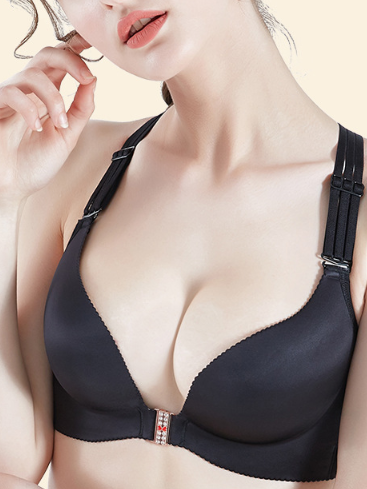 Front Button Traceless Push Up Bra