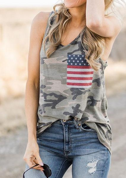 Camouflage America Flag Tank