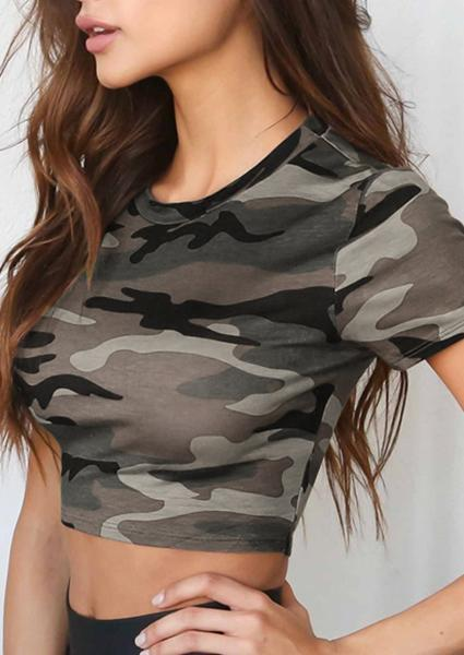 Camouflage Exposed Navel Crop Tops
