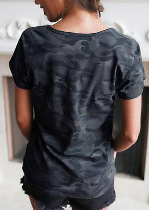 Camouflage Low Collar T-shirt