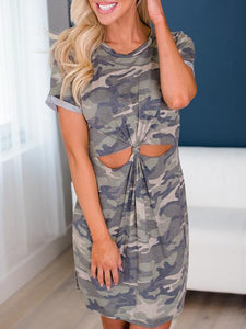 Camouflage Printed Hollow Out Mini Dress