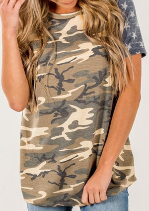 Camouflage Star Striped Casual T-shirt