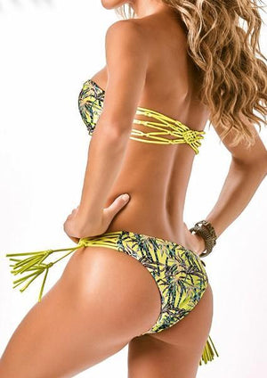 Coconut Tree Tassel Strapless Bikini Set