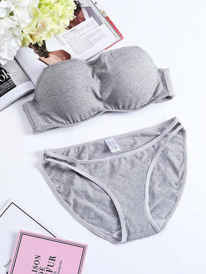 Cotton Strapless Push Up Sexy Bra Set