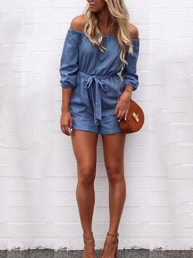 Denim Off shoulder Jumpsuits