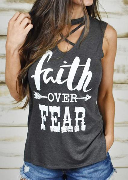 Faith Over Fear Off Shoulder Grey Belt Tank