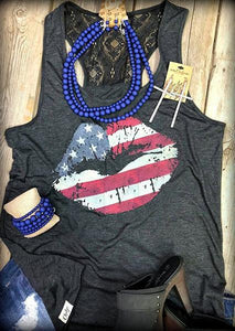 Flag Lipped Printed O-neck Tanks