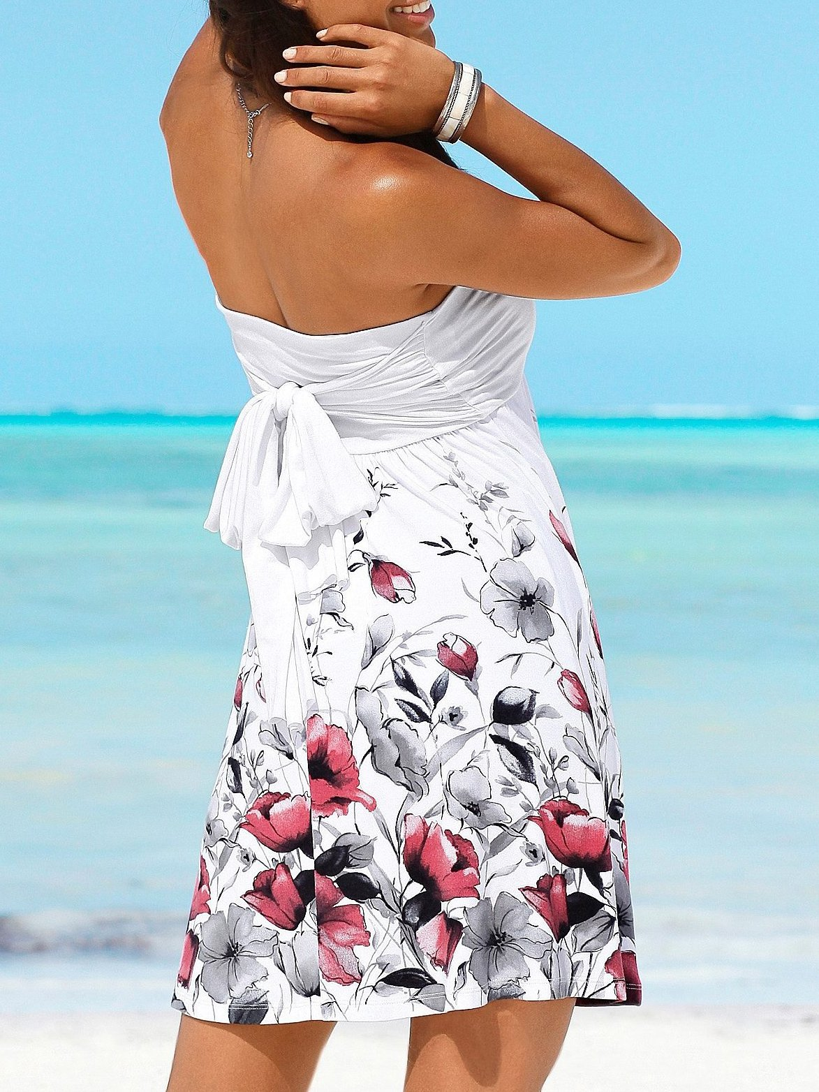 Floral Print Halter Beach Dress