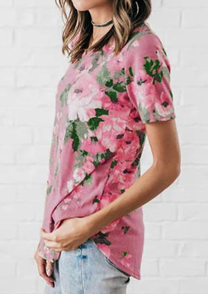 Floral V-Neck Short Sleeve T-Shirt without Necklace