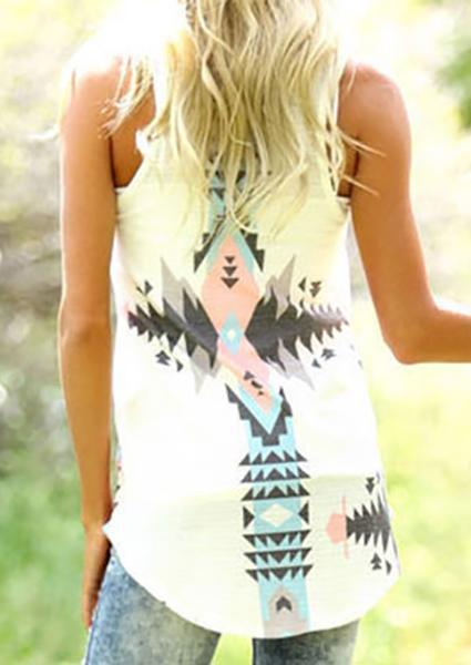Geometric Printed Asymmetric Tank without Necklace