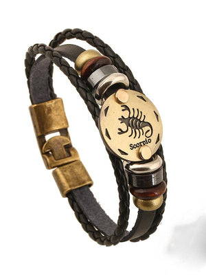 Exotic Sienna Leather Twelve Constellation Bracelet