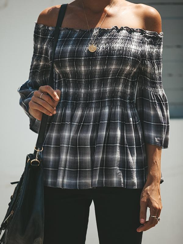 Off Shoulder Plaid Fold Ruffle Blouse