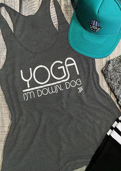 I'm Down Dog Letter Printing Tank