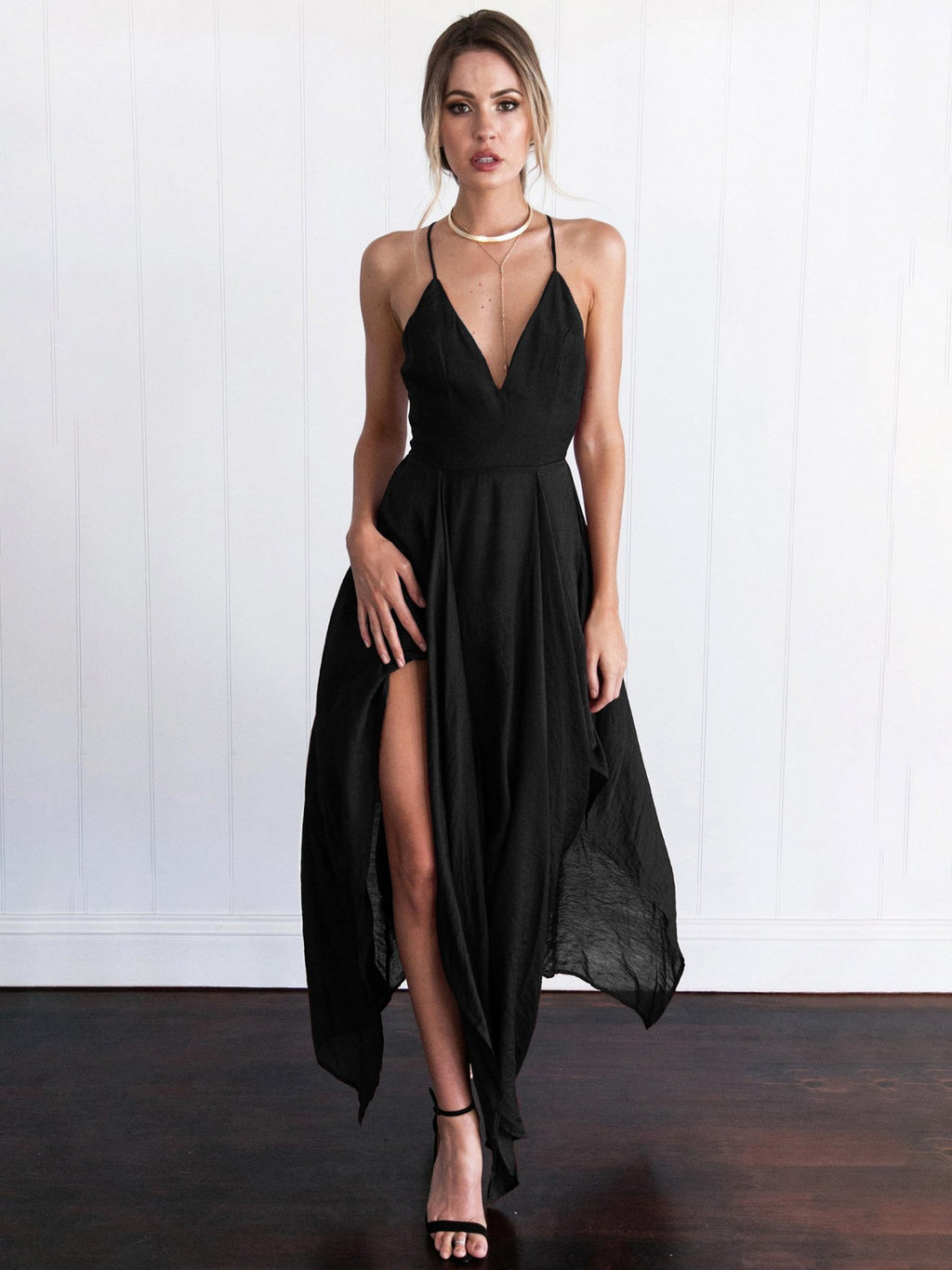 Irregular Strap Long Dress