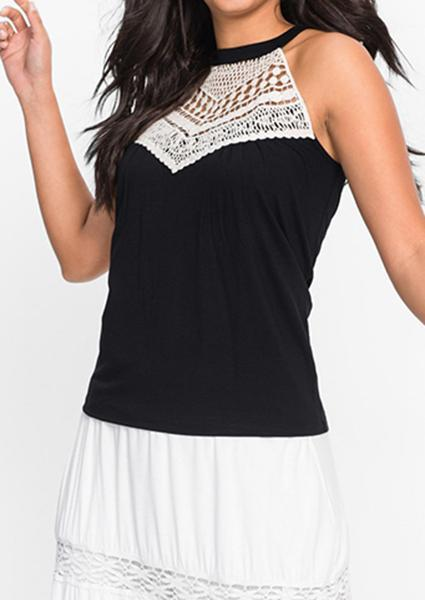 Lace Spliced Off Shoulder Tanks