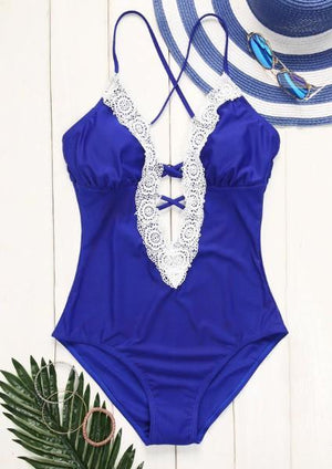 Lace Splicing Criss-Cross Swimsuit without Necklace