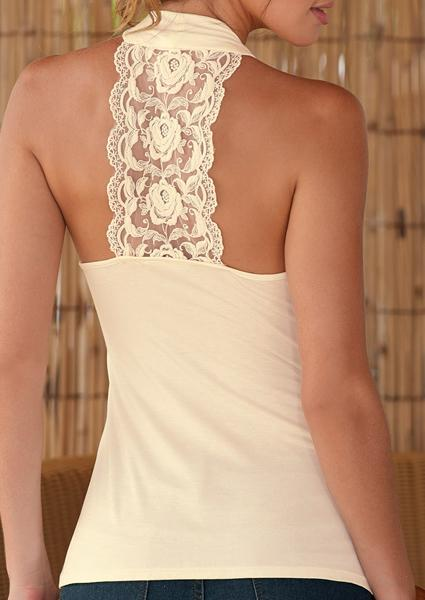Low-neck Stitching Lace Halter Backless Tank