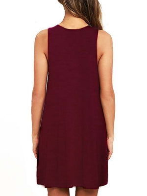 Mock Neck Sleeveless T-Shirt Dress