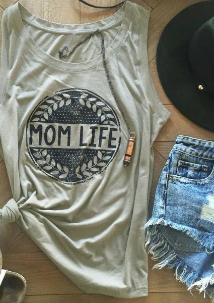Mom Life Olive Branches Sleeveless Tank-Tanks-FeChicin.com-Light Grey-S-FeChicin.com
