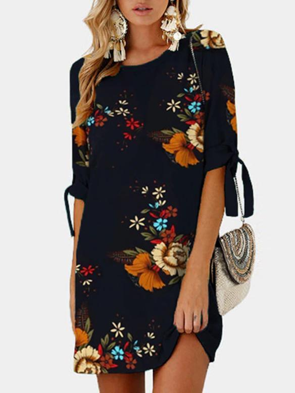 O-neck Flower Printing Lacing Mini Dress