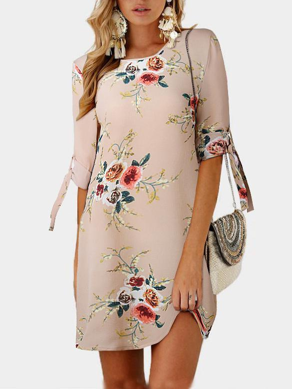 O-neck Flower Printing Short Sleeve Lacing Dress