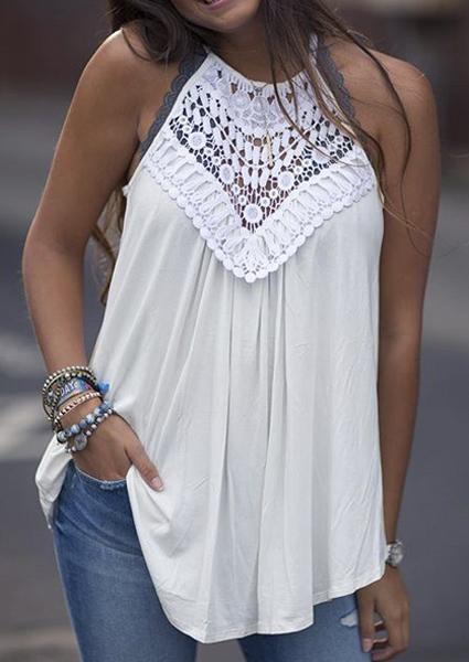 Off Shoulder Hollow Out Neck Lace Tank