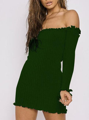 Off Shoulder Solid Color Horn Sleeve Dress