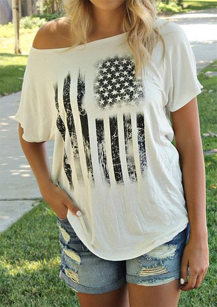 One-Shoulder-Off America Flag Printed T-shirt