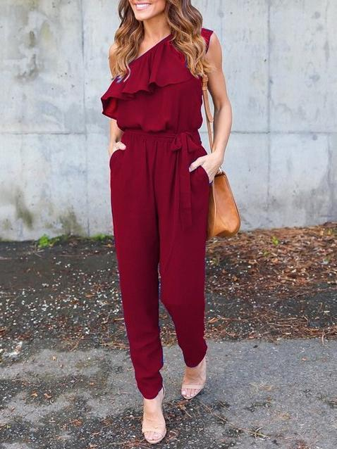 One Shoulder Off Solid Color Jumpsuits