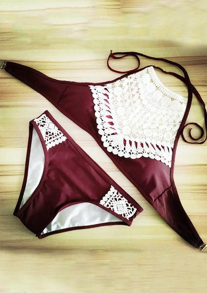 Lace Splicing Bikini Set