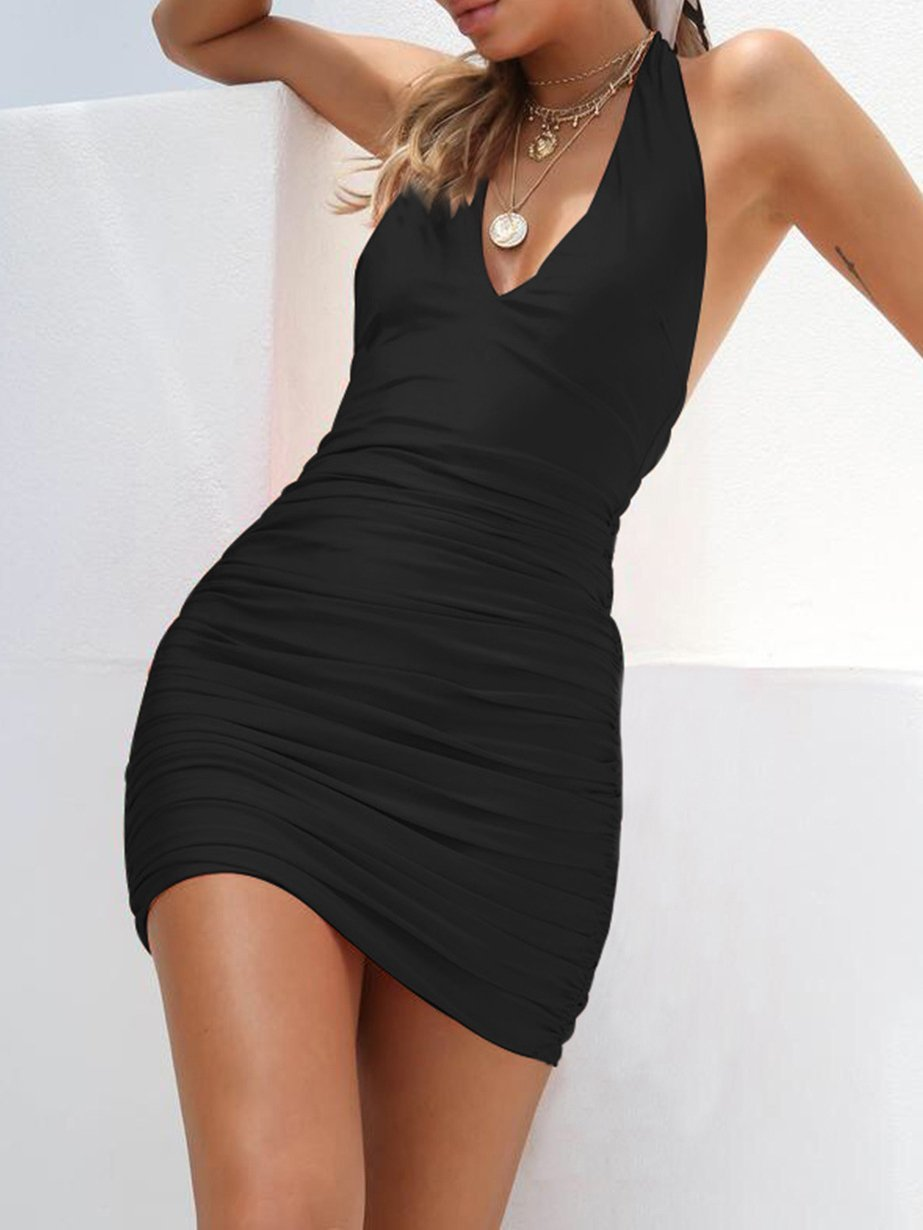 Pleated Solid V-neck Sling Backless Sexy Dress