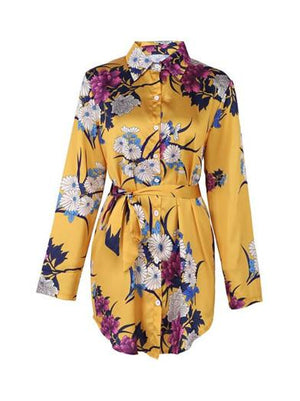 Printed Strappy Long-sleeved Dress-Mini Dress-Fechicin.com