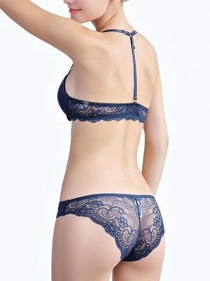 Sexy Front Button Lace Beauty Back Bra Suit