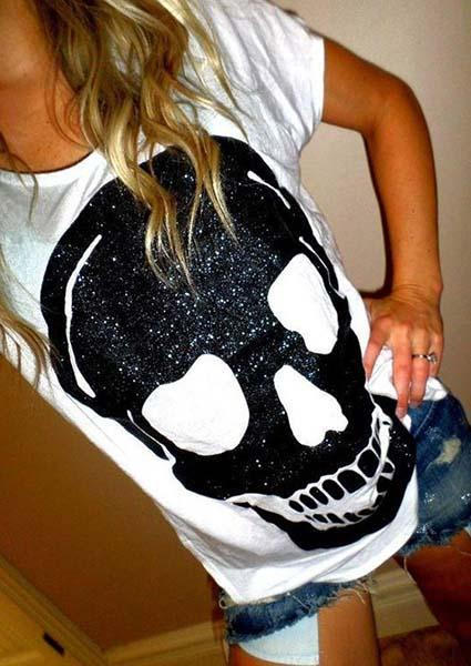 Skull Print Round Neck Short Sleeve Casual T-Shirt