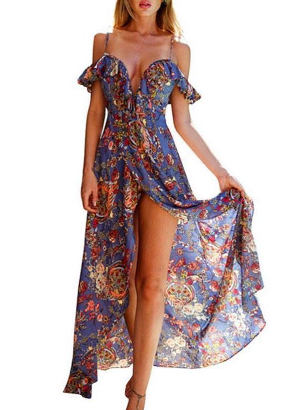 Slip V-Neck Floral Printed Dress