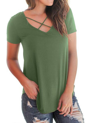 Solid Casual Short Sleeve Cross Front V-Neck
