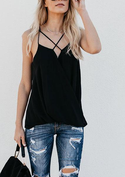 Solid Color Sexy Sleeveless Banding Tops