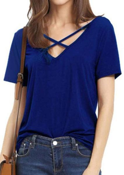 Solid Criss-Cross V-Neck Short Sleeve T-Shirt