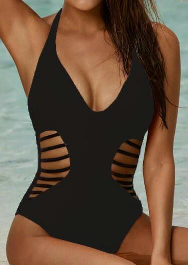 Solid Hollow Out Halter Sexy Swimsuit