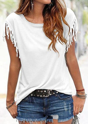 Solid Tassel Casual Tanks