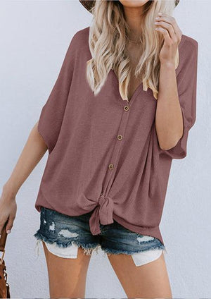 Solid V-neck Button T-shirt