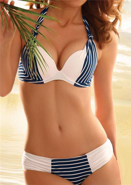 Striped Splicing Halter Bikini Set