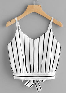 Striped Split Tie Back Crop Top