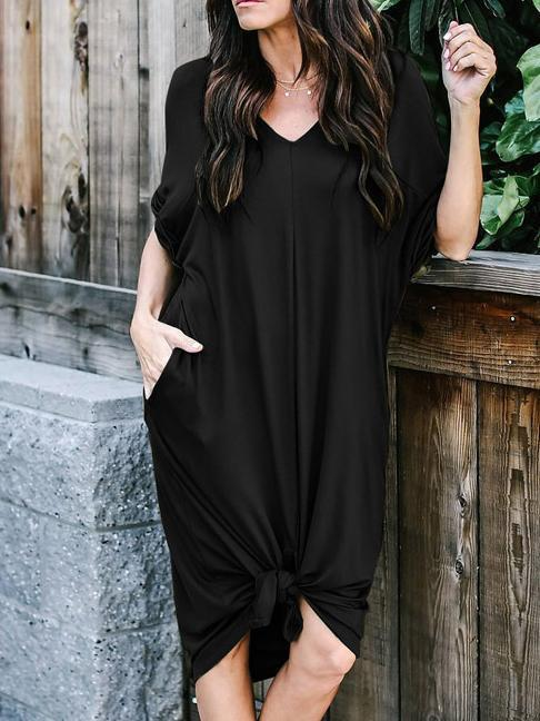 Summer V-neck Loose Long Dress With Pocket