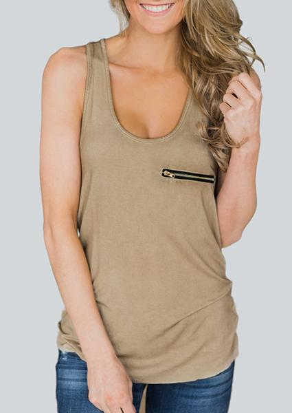 U-neck Zip Solid Color Tanks