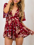 V-Neck Floral Printed Jumpsuits