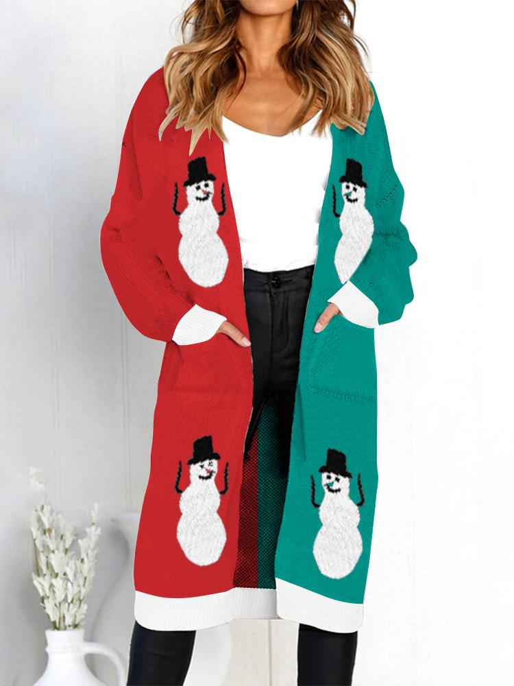 Snowman Elk Christmas Long Sleeve Cardigan