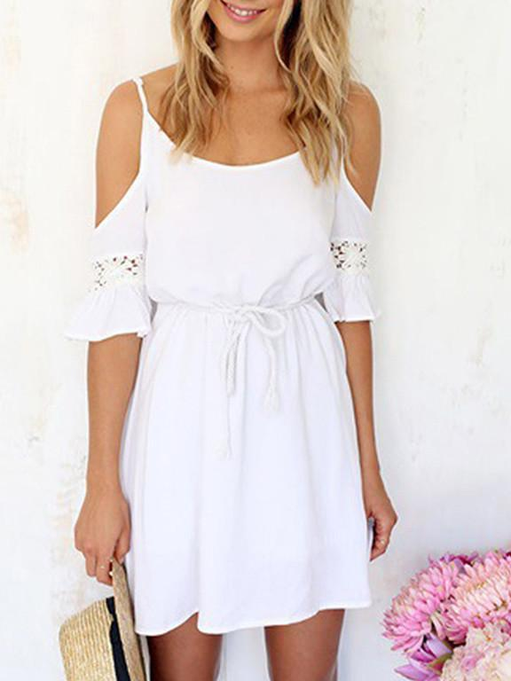 White Slip Off Shoulder Lace Chiffon Dress