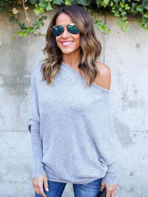 Solid Color Off Shoulder Bat Sleeve Knit T-shirt