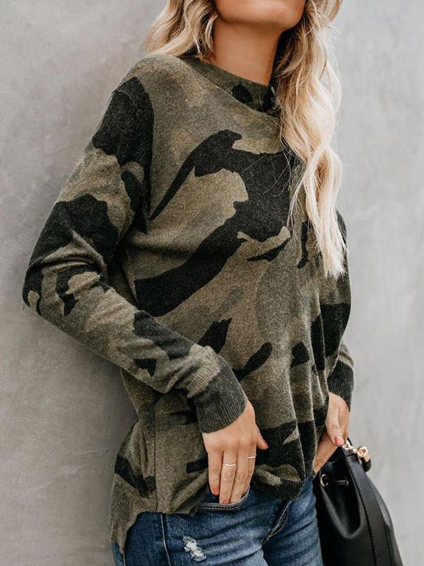 O-neck Camouflage Printed Long Sleeves Blouse